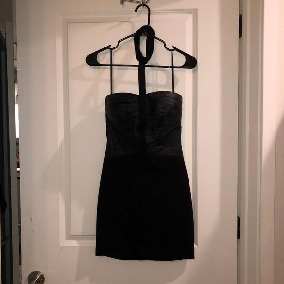 bebe Dresses & Skirts - Bebe: Black mini dress with strap choker